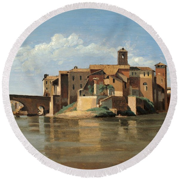 The Island And Bridge Of San Bartolomeo Round Beach Towel