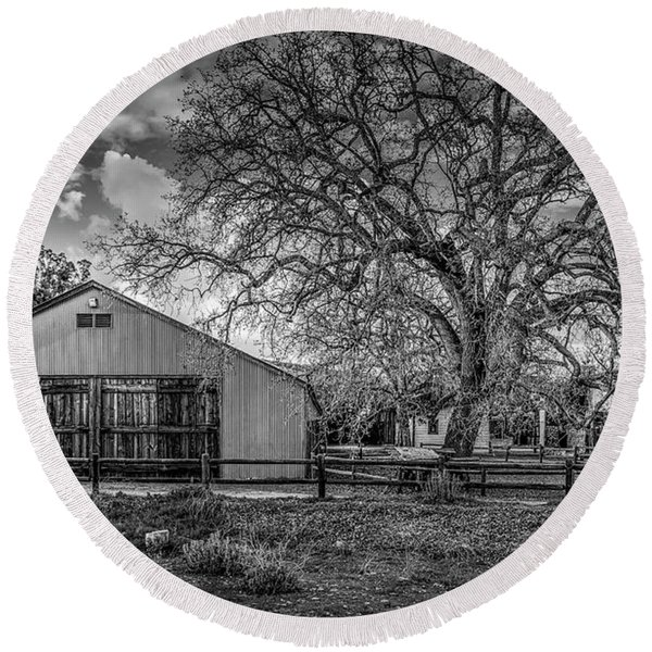 The Livery Stable And Oak Round Beach Towel