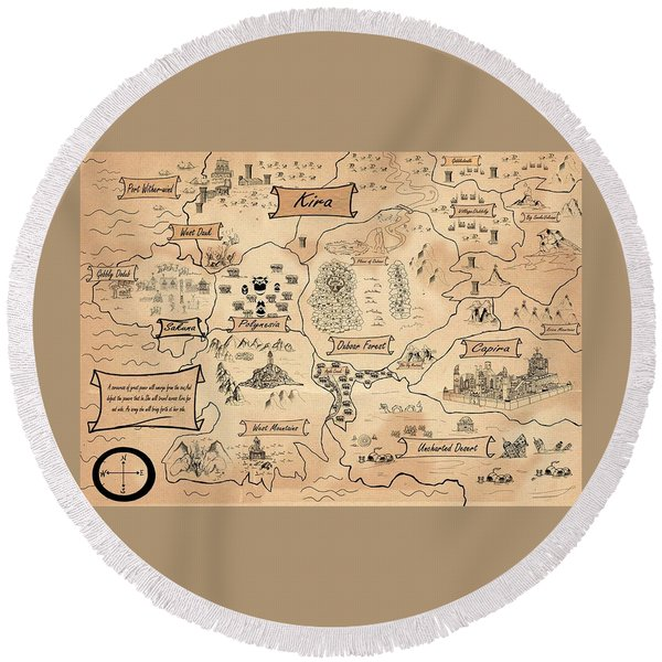 The Map Of The Enchanted Kira Round Beach Towel