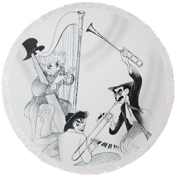 The Marx Brothers O Round Beach Towel