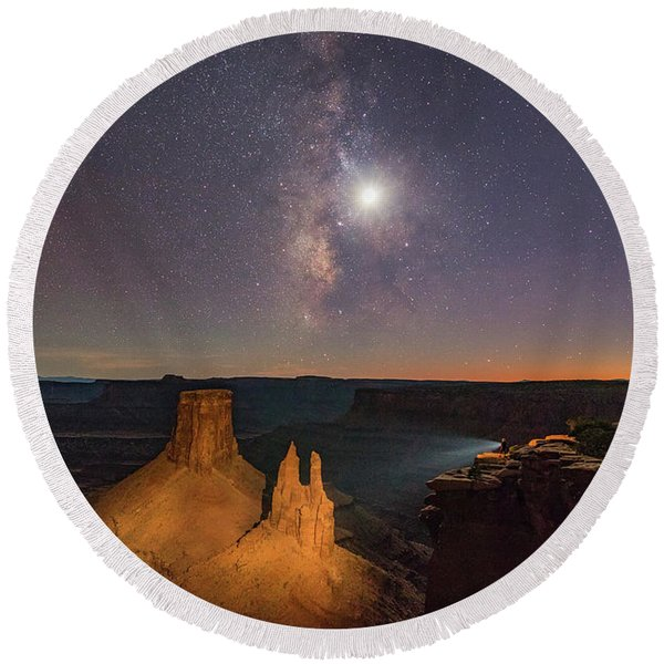 The Milky Way And The Moon From Marlboro Point Round Beach Towel