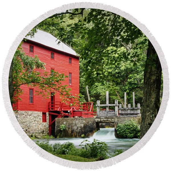 The Mill At Alley Spring Round Beach Towel