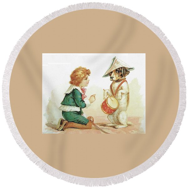 The Musical Pooch Round Beach Towel