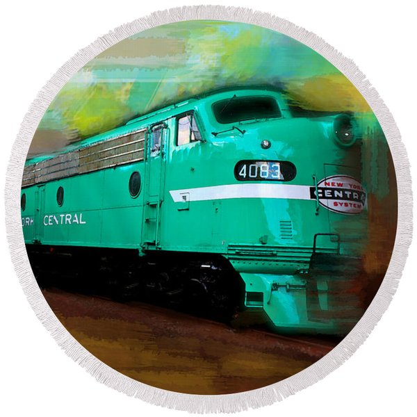 Flash II  The Ny Central 4083  Train  Round Beach Towel