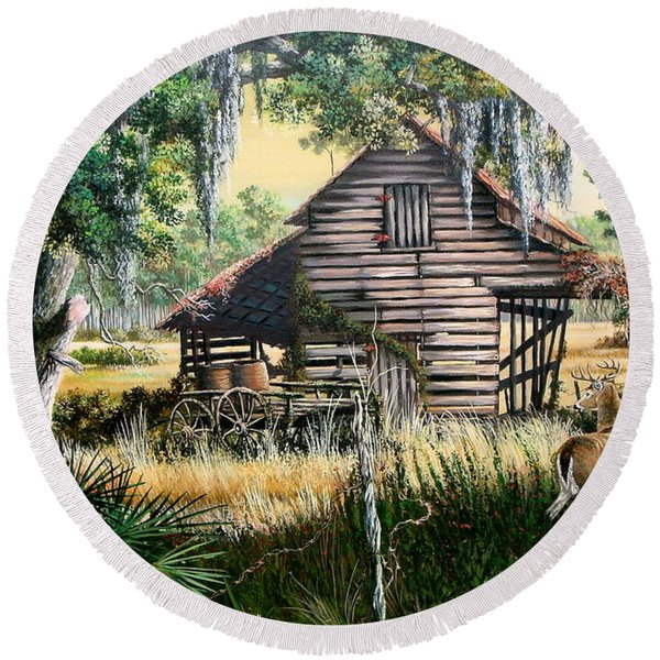 Old Floridaturpentine Barn-a Florida Memory Round Beach Towel