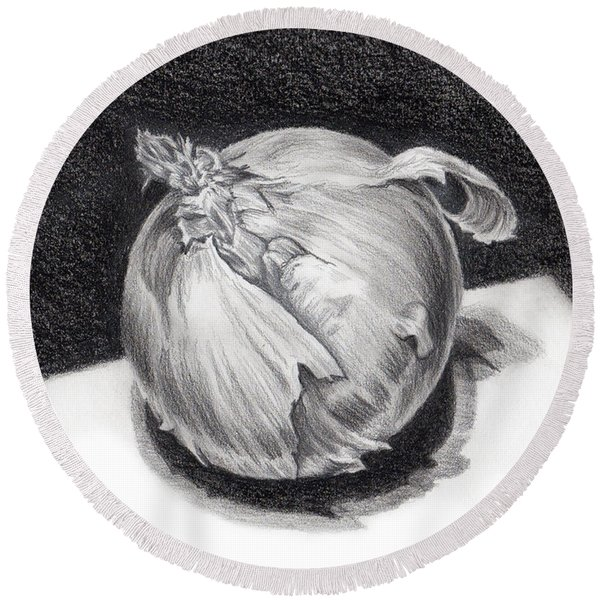 Round Beach Towel featuring the drawing The Onion by Nancy Cupp