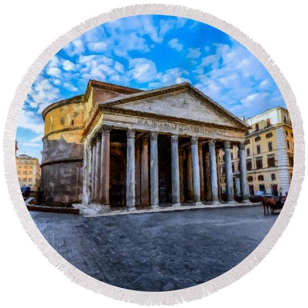 The Pantheon Rome Round Beach Towel