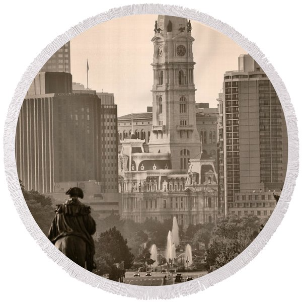 Round Beach Towel featuring the photograph The Parkway In Sepia by Bill Cannon