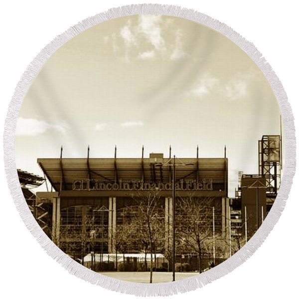 Round Beach Towel featuring the photograph The Philadelphia Eagles - Lincoln Financial Field by Bill Cannon