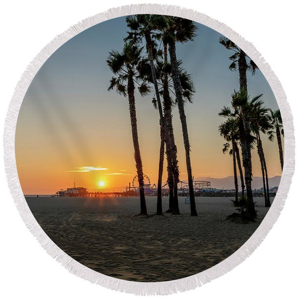 The Pier At Sunset Round Beach Towel