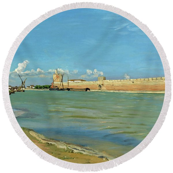 The Ramparts At Aigues Mortes Round Beach Towel