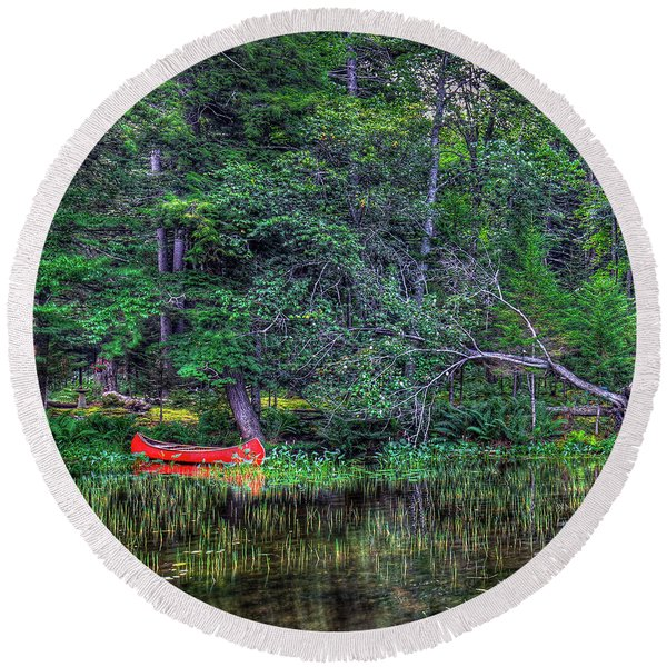 The Red Canoe Round Beach Towel