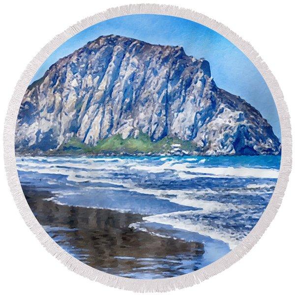 Morro Rock Canvas Print,photographic Print,art Print,framed Print,greeting Card,iphone Case, Round Beach Towel