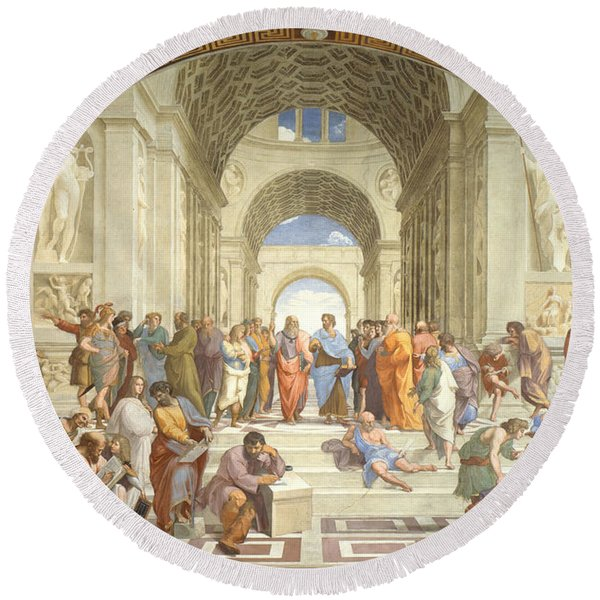 The School Of Athens, Raphael Round Beach Towel