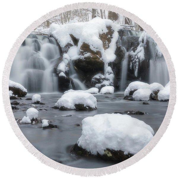 The Secret Waterfall In Winter 1 Round Beach Towel