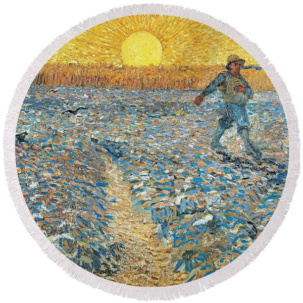 The Sower Round Beach Towel
