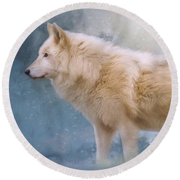 The Spirit Within - Arctic Wolf Art Round Beach Towel