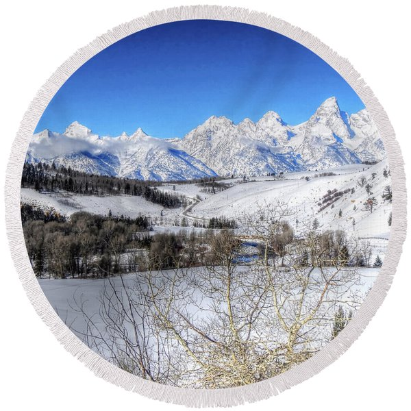 The Tetons From Gros Ventre Valley Round Beach Towel