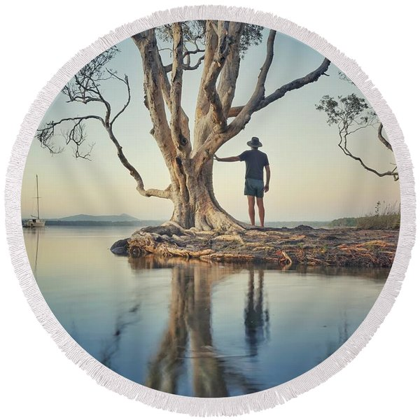 The Tree And Me Round Beach Towel