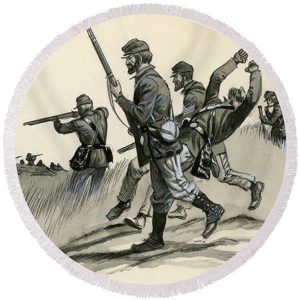 The Union's Infantrymen During The American Civil War Round Beach Towel