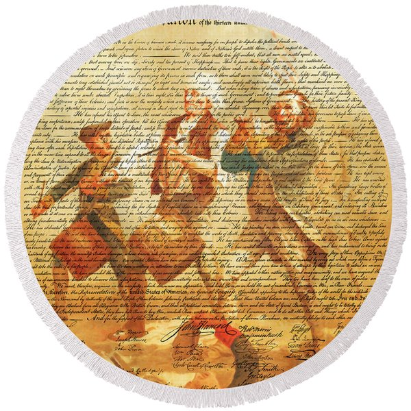 The United States Declaration Of Independence And The Spirit Of 76 20150704v2 Round Beach Towel