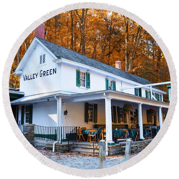 Round Beach Towel featuring the photograph The Valley Green Inn In Autumn by Bill Cannon