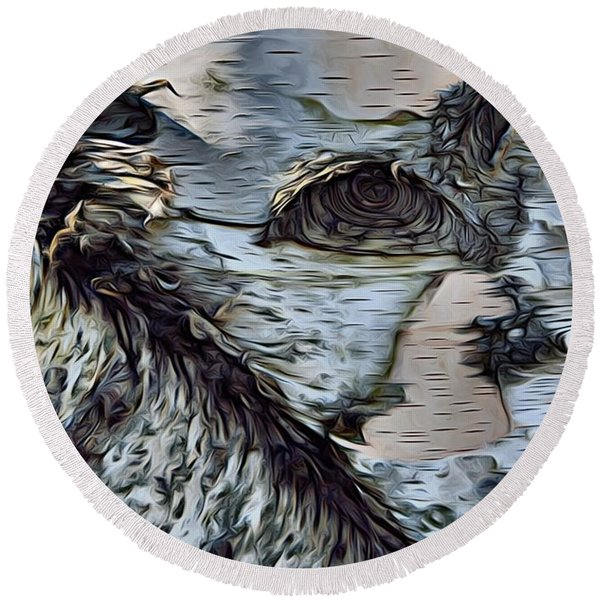 The Watcher In The Wood Round Beach Towel