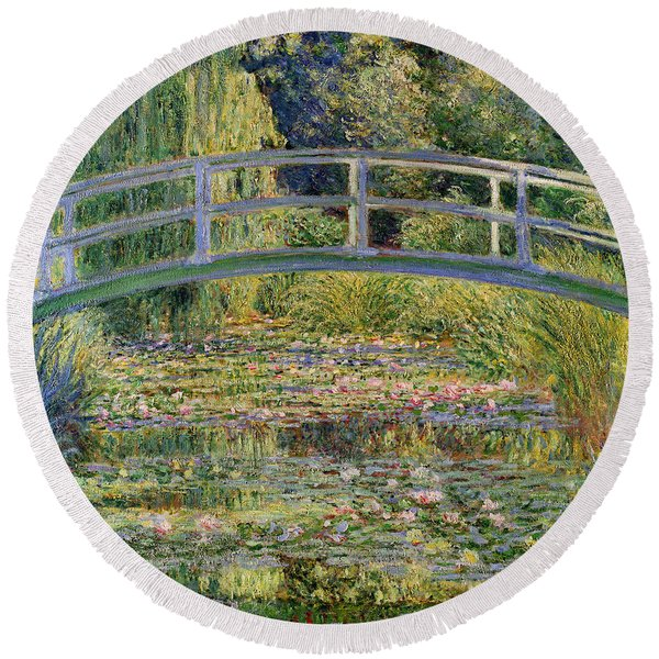 The Waterlily Pond With The Japanese Bridge Round Beach Towel