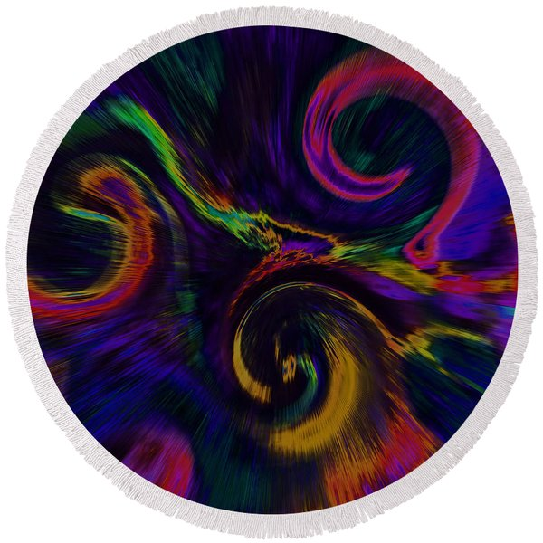 The Wave Of Truth 2 Purple Blur Round Beach Towel