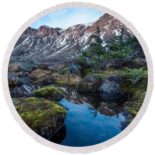 Round Beach Towel featuring the photograph The Wedge In Late Autumn by Tim Newton