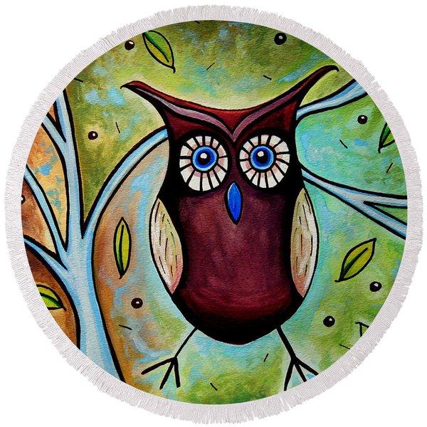 The Whimsical Owl Round Beach Towel