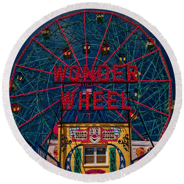The Wonder Wheel At Luna Park Round Beach Towel
