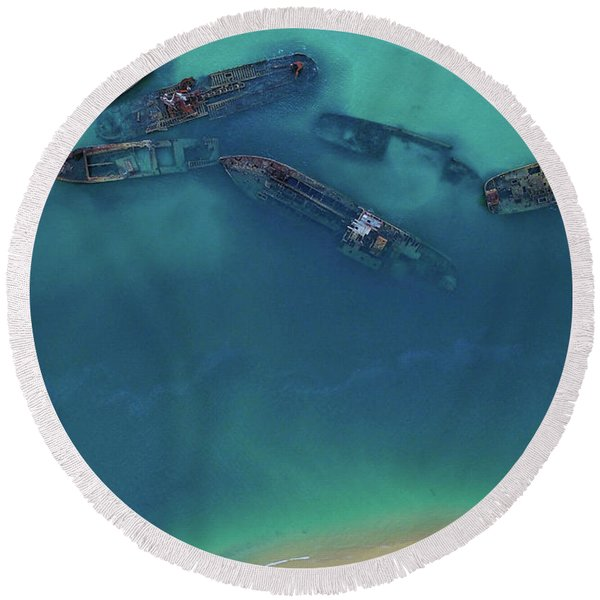 The Wrecks Round Beach Towel
