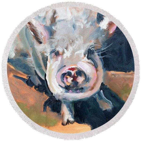 This Little Piggy At Spring Valley Farm Round Beach Towel
