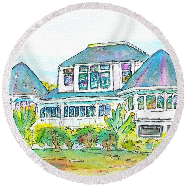 Thistle Lodge Pen Ink And Watercolor Round Beach Towel