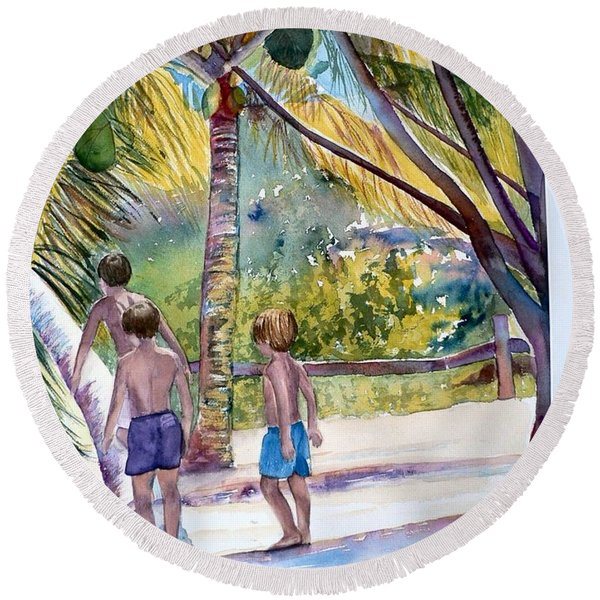 Three Boys Climbing Round Beach Towel