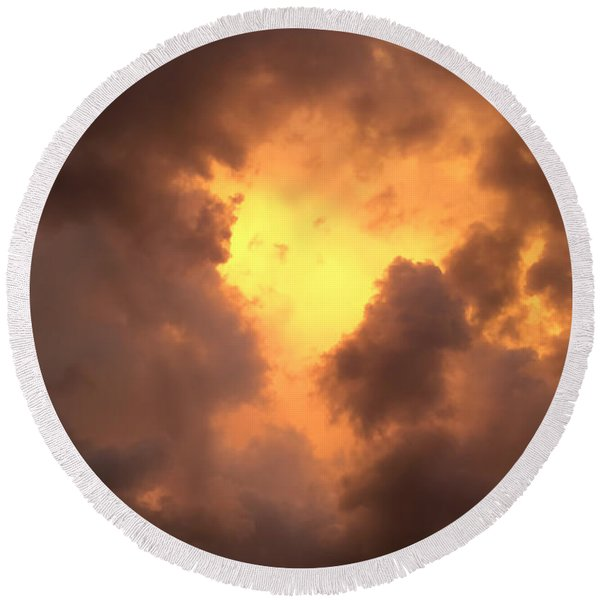 Thunderous Sunset Round Beach Towel