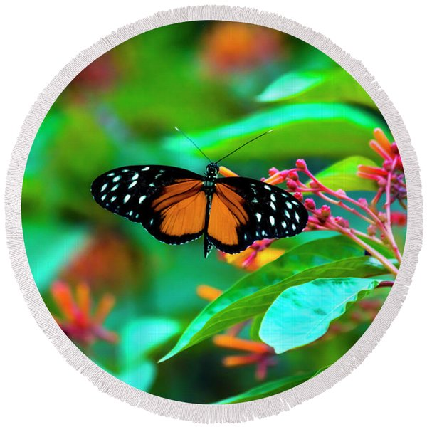 Tiger Longwing Butterfly Round Beach Towel