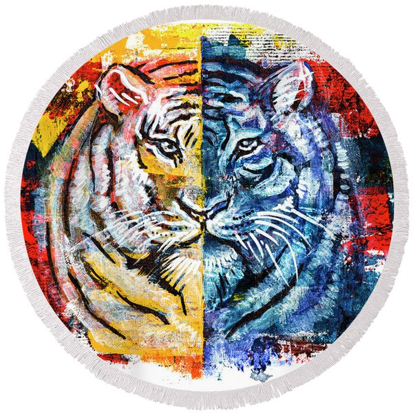 Round Beach Towel featuring the painting Tiger, Original Acrylic Painting by Ariadna De Raadt