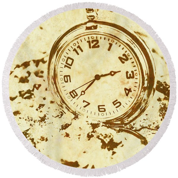 Time Worn Vintage Pocket Watch Round Beach Towel