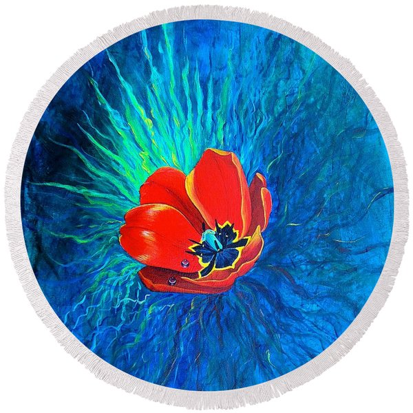 Round Beach Towel featuring the painting Touched By His Light by Nancy Cupp
