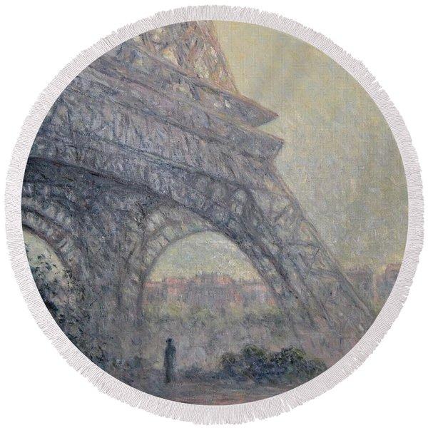 Paris , Tour De Eiffel  Round Beach Towel