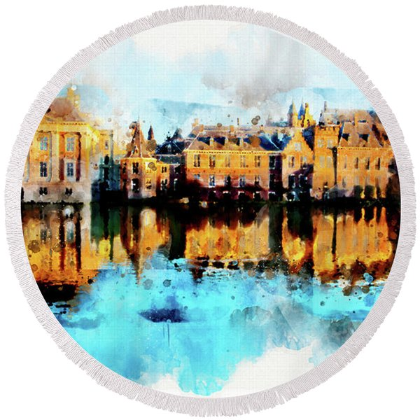 Round Beach Towel featuring the digital art Town Life In Watercolor Style by Ariadna De Raadt
