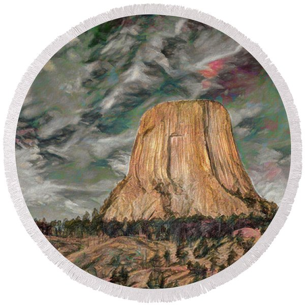 Transcendental Devils Tower Round Beach Towel