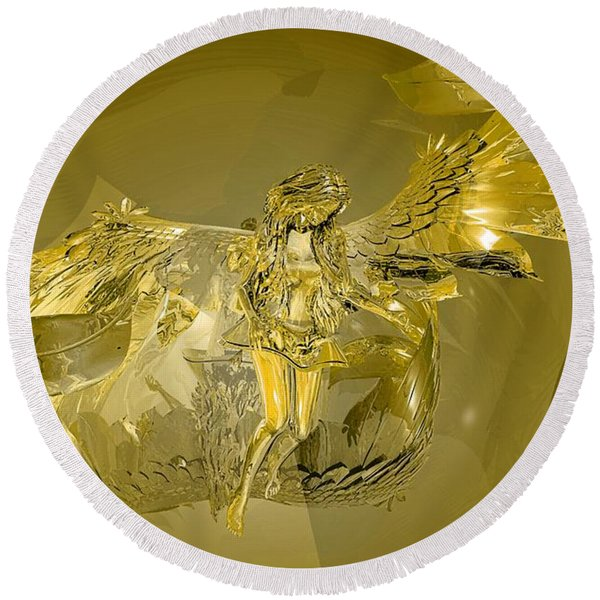 Transparent Gold Angel Round Beach Towel