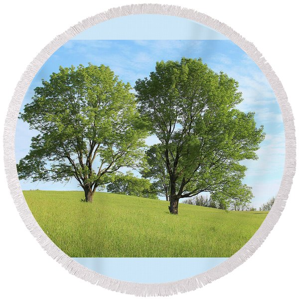 Summer Trees 4 Round Beach Towel