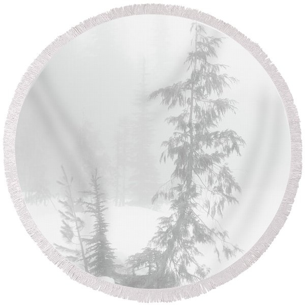 Round Beach Towel featuring the photograph Trees In Fog Monochrome by Tim Newton