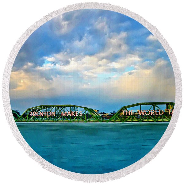 Round Beach Towel featuring the photograph Trenton Makes The World Takes by Bill Cannon