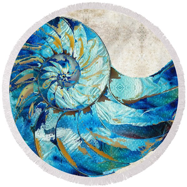 Tropical Blue Art - Nautilus Shell Bleu 2 - Sharon Cummings Round Beach Towel
