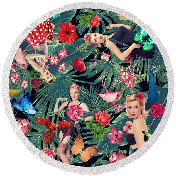 Tropical Fun Sexy  Round Beach Towel